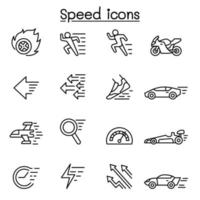 Speed, Fast icon set in thin line style vector