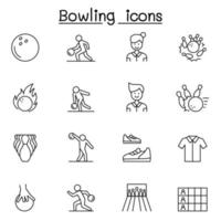 Bowling icons set in thin line style vector