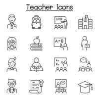 Teacher icon set in thin line style vector