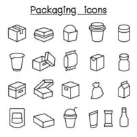 Package icon set in thin line style vector