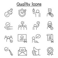 Quality, Approved, Check mark icons set in thin line style vector