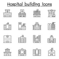 Hospital building icon set in thin line style vector