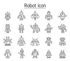 icono de robot en estilo de línea fina vector