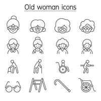 Old woman, Elder woman, Grandmother icon set in thin line style vector