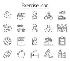 Exercise icon set in thin line style vector