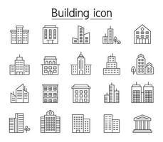 icono de edificio en estilo de línea fina vector