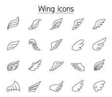 icono de ala en estilo de línea fina vector