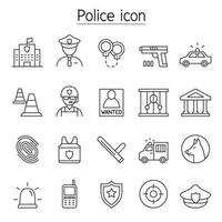 icono de policía en estilo de línea fina vector