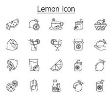 Lemon icon set in thin line style vector