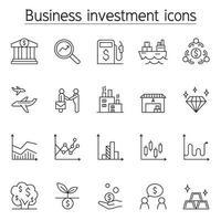 icono de inversión empresarial en estilo de línea fina vector