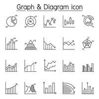 gráfico, diagrama y gráfico en estilo de línea fina vector
