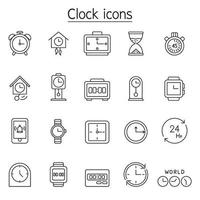 Clock, watch, stopwatch icon set in thin line style vector