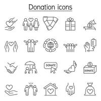 Donation and Charity icons set in thin line style vector