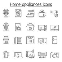 Home appliances icons set in thin line style vector