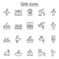 Sink and Faucet icon set in thin line style vector