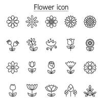 Flower icon set in thin line style vector