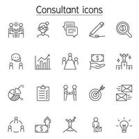 Business consulting icon set in thin line style vector