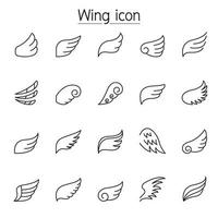 iconos de ala en estilo de línea fina vector