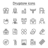 Pharmacy icon set. Included the icons as drug, pills, capsule, herbal medicines, pharmacist, drugstore and more vector