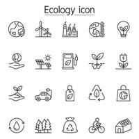 Ecology icon set in thin line style vector