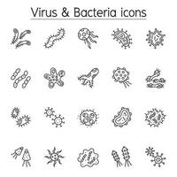 Virus and Bacteria icon set in thin line style vector