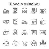 compras en línea y iconos de comercio electrónico en estilo de línea fina vector