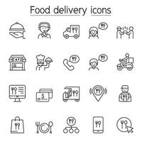 Food delivery line icons set vector
