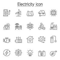 Electricity icons set in thin line style vector