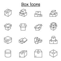 iconos de caja en estilo de línea fina vector