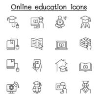 Online education icons set in thin line style vector