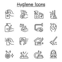 Set of Hygiene related vector line icons.