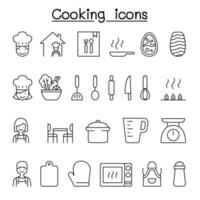 Cooking icon set in thin line style vector
