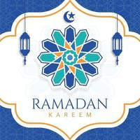 Flat ramadan kareem illustration greeting card vector