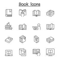 iconos de libros en estilo de línea fina vector