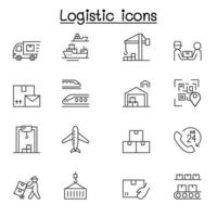 Logistic and Delivery service icon set in thin line style vector