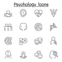 Psychology icons set in thin line style vector