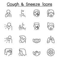 iconos de tos y estornudos en estilo de línea fina vector