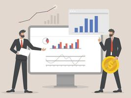 Professionals businessman analyzing graphs illustration vector