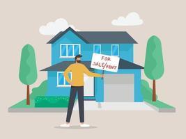 Agente inmobiliario masculino con cartel de venta en frente de la casa vector
