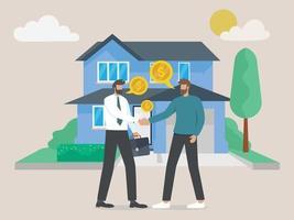 El hombre comprando una casa y un apretón de manos con el agente inmobiliario vector
