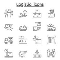 Logistic icons set in thin line style vector