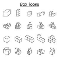 Box icons in thin line style vector