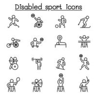 Disabled sport icons set in thin line style vector