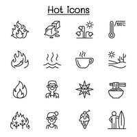 conjunto de iconos de líneas vectoriales relacionadas con el calor. vector