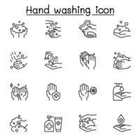 Hand washing icon set in thin line style vector