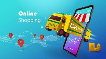 Shopping Online concept with 3D mobile phone and delivery truck on blue background vector