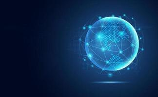 Futuristic blue earth abstract technology background vector