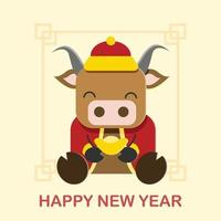 Happy Chinese New Year year of ox vector