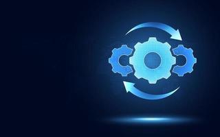Hyperautomation futuristic blue gear transmission digital transformation background vector