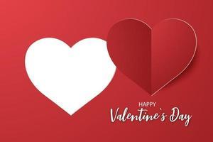 papel rojo cortando pegatina en forma de corazón y feliz día de san valentín invitación vector